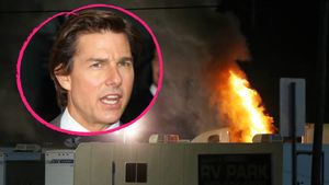 Trailer am Set von Tom Cruise brennt in einer Collage