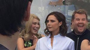 """Victoria Beckham und James Corden bei den Dreharbeiten zu einer neuen Folge von """"Carpool Karaoke"""""""