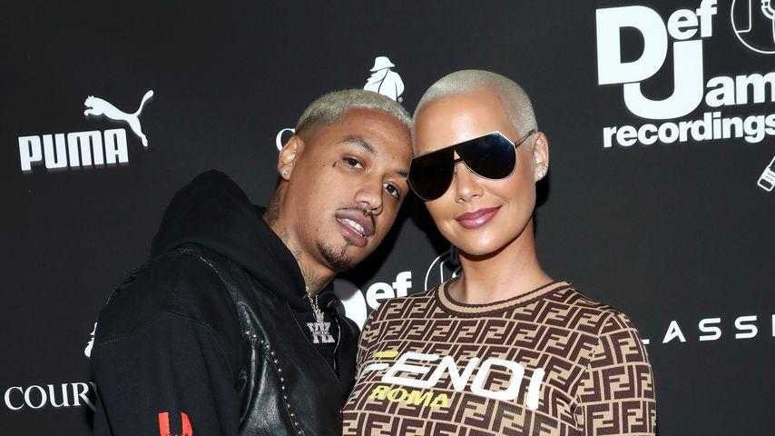 A. E. und seine Freundin Amber Rose bei einer Pre-Grammy Party