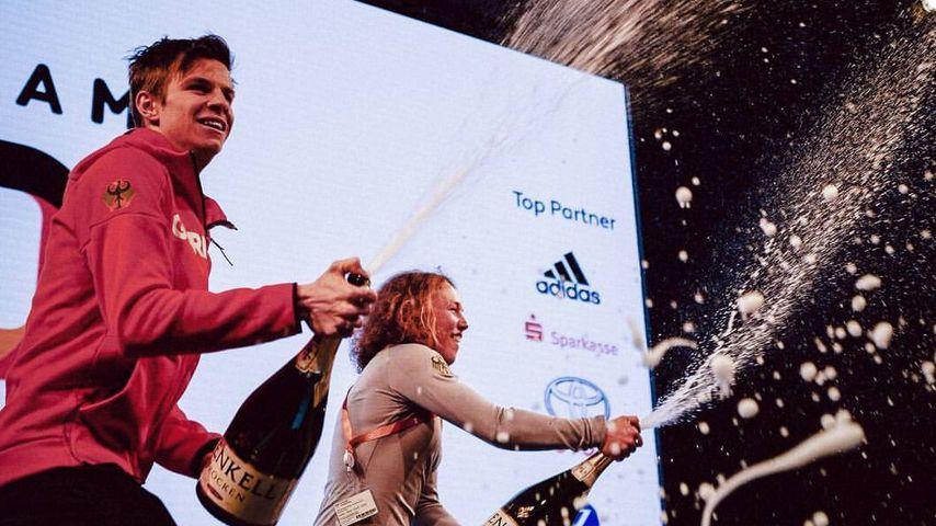 Champagner-Regen: So hart feiern deutsche Olympia-Sieger!