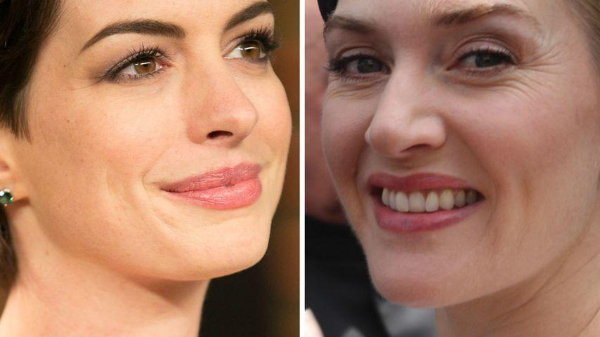 Nervös: Fangirl Anne Hathaway befragt Kate Winslet