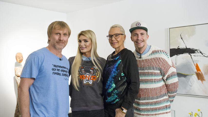 Ansgar Brinkmann, Giuliana Farfalla, Natascha Ochsenknecht und David Friedrich beim Dschungel-Dinner