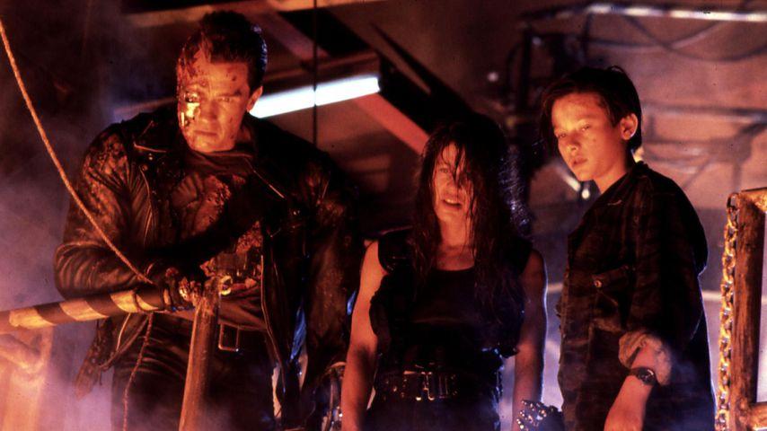 """Arnold Schwarzenegger, Linda Hamilton und Edward Furlong in """"Terminator 2 - Tag der Abrechnung"""""""