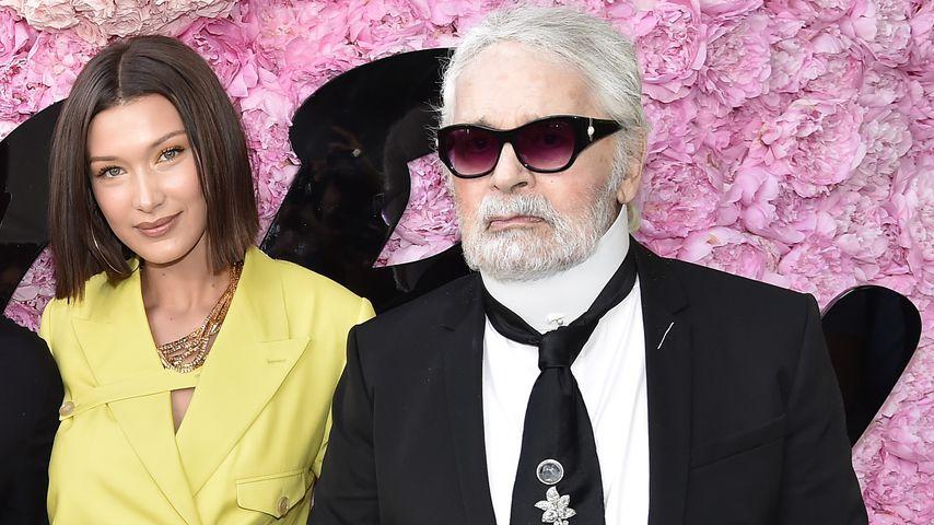 Bella Hadid und Karl Lagerfeld auf der Fashion Week in Paris im Juni 2018