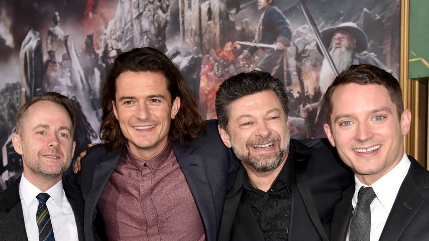 "Billy Boyd, Orlando Bloom, Andy Serkis und Elijah Wood bei der ""Hobbit""-Premiere 2014"