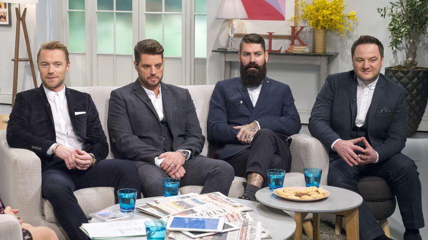 Boyzone-Mitglieder Shane Lynch, Mikey Graham, Ronan Keating und Keith Duffy