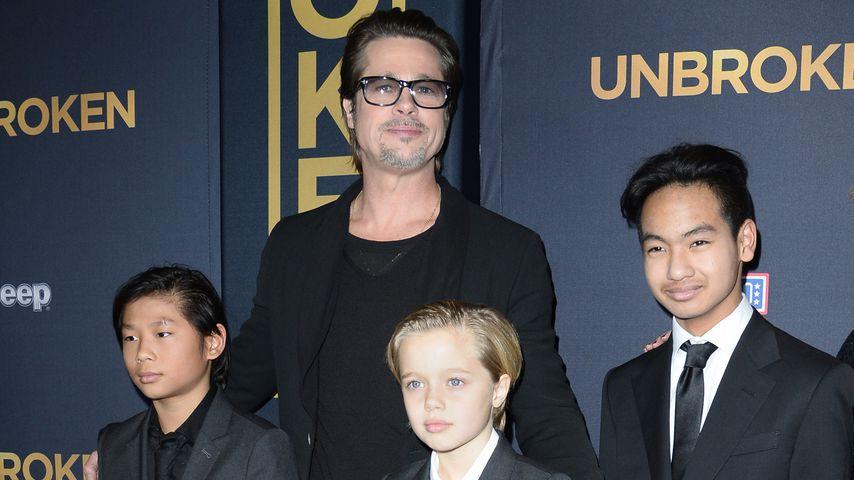 Brad Pitt mit Pax, Shiloh und Maddox, Dezember 2014