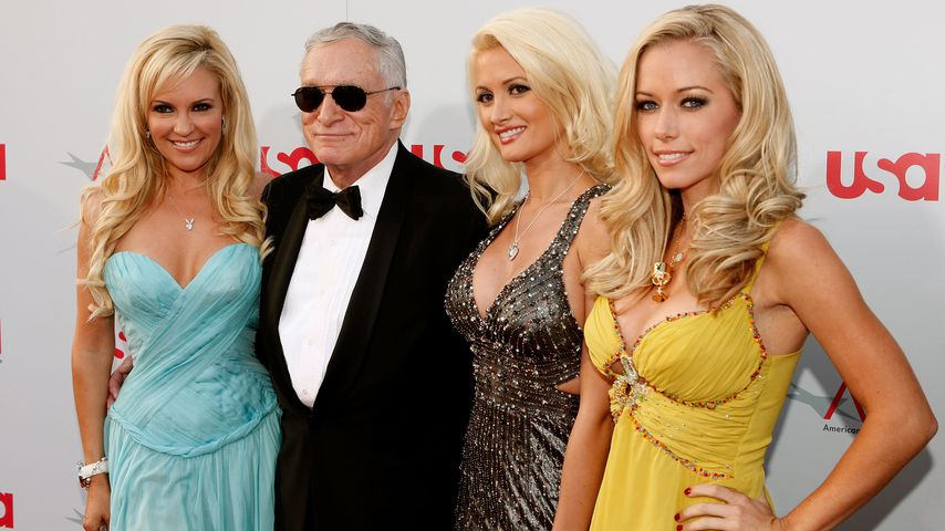 Bridget Marquardt, Hugh Hefner, Holly Madison und Kendra Wilkinson in Hollywood 2008
