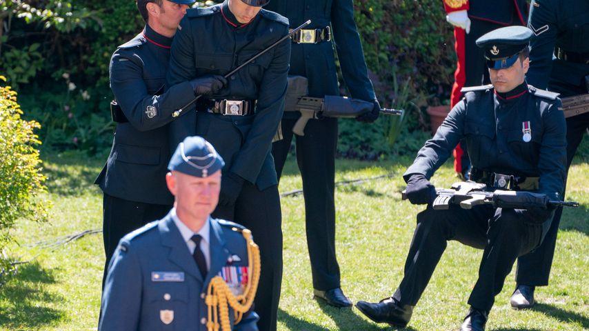 Ein Soldat bei Prinz Philips Beerdigung