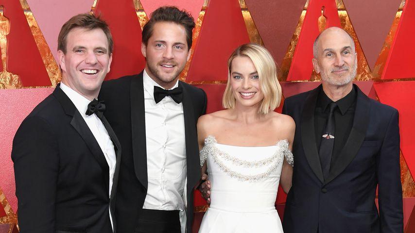 Bryan Unkeless, Tom Ackerley, Margot Robbie und Craig Gillespie im März 2018 in Hollywood