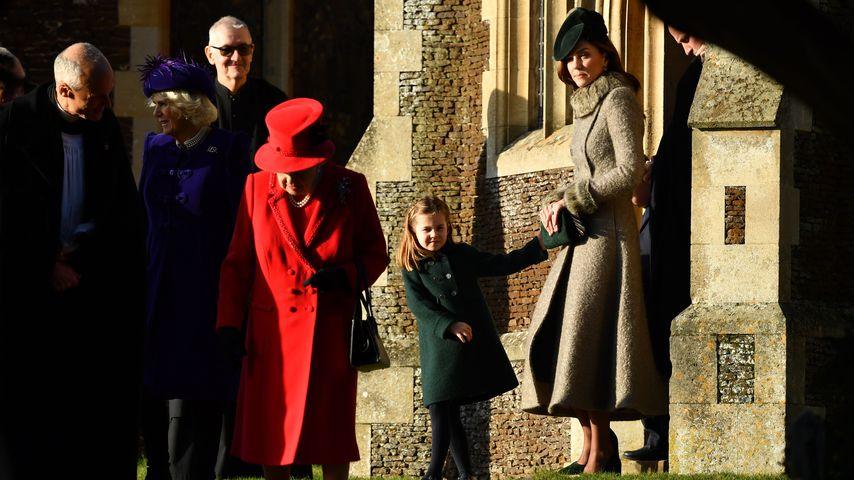 Camilla Parker Bowles, Queen Elizabeth II., Prinzessin Charlotte und Herzogin Kate, Dezember 2019