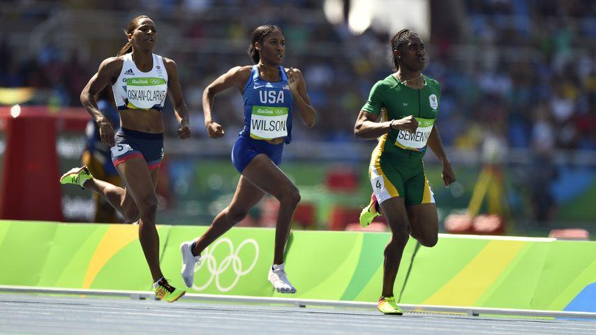 Shelayna Oskan-Clarke, Ajee Wilson und Caster Semenya (v.l.n.r.)