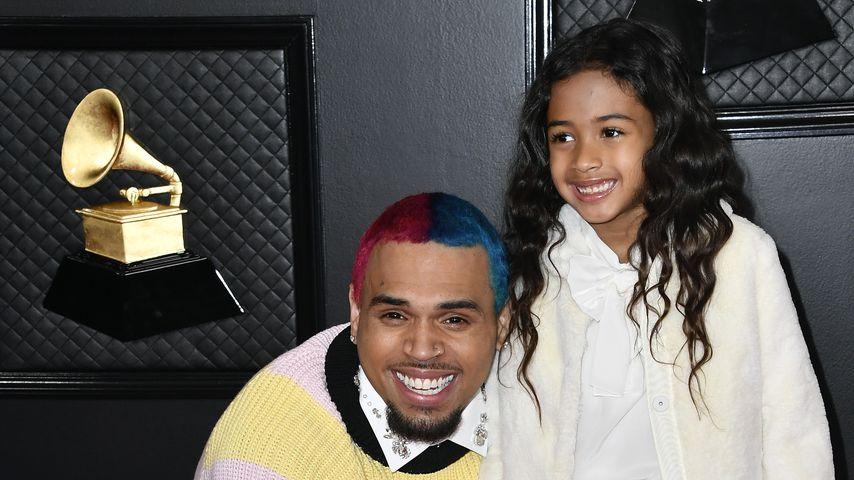 Chris Brown mit seiner Tochter Royalty im Januar 2020 in Los Angeles
