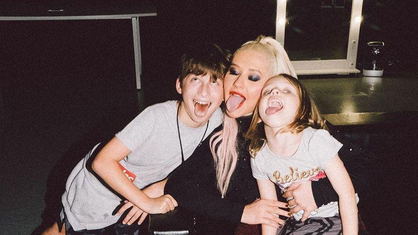 Christina Aguilera mit ihren Kindern