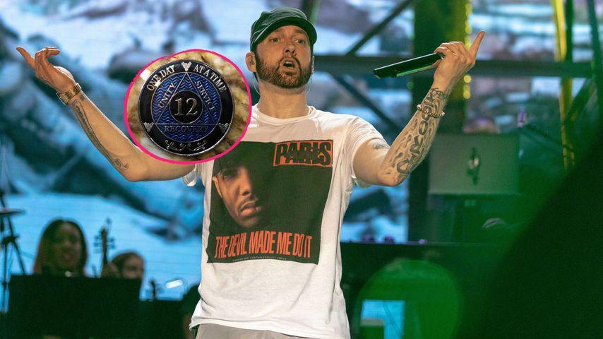 Collage: Eminem und seine 12-Jahre-Trocken-Münze im April 2020