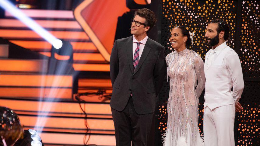 """Daniel Hartwich, Barbara Becker und Massimo Sinató während der neunten Show von """"Let's Dance"""""""