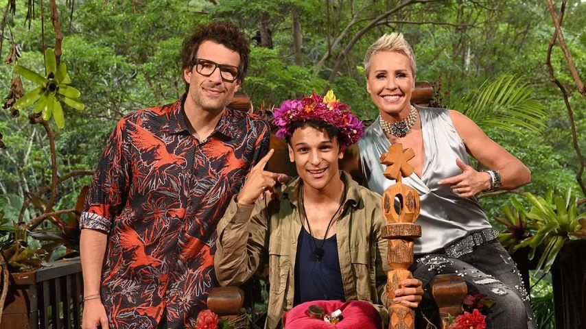 Daniel Hartwich, Prince Damien und Sonja Zietlow im Dschungelcamp-Finale