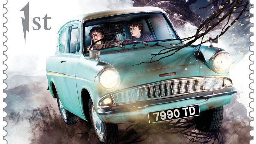 """Das fliegende Auto aus """"Harry Potter und die Kammer des Schreckens"""" als Briefmarke"""
