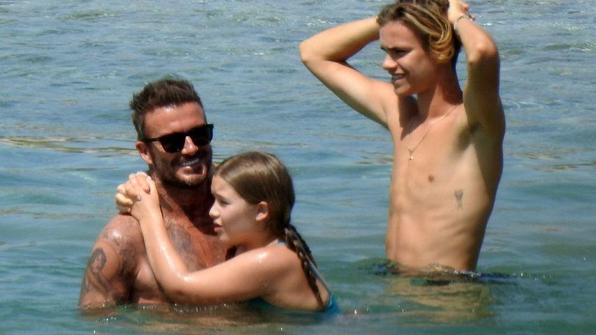 David Beckham mit seinen Kindern Harper und Romeo