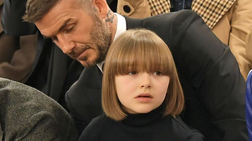 David und Harper Beckham bei der London Fashion Week 2019