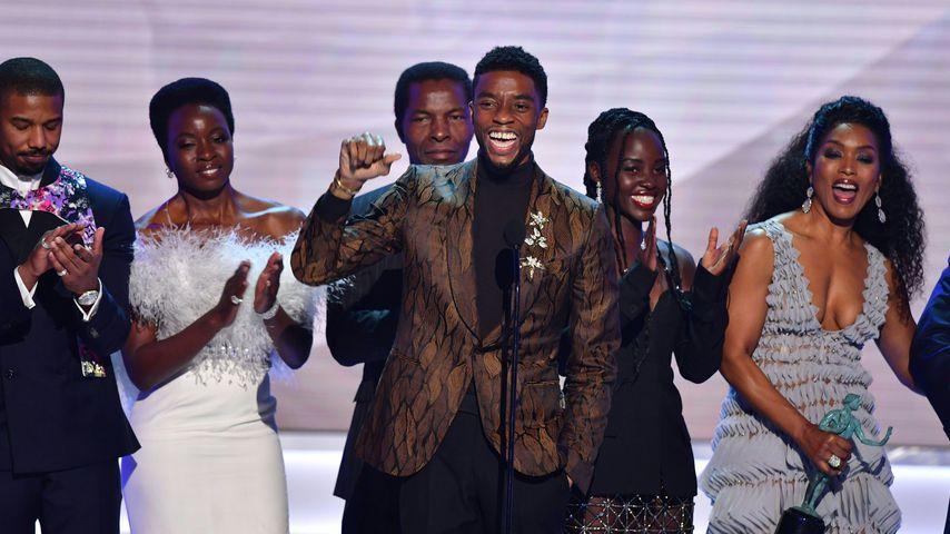 Michael B. Jordan, Danai Gurira, Chadwick Boseman, Lupita Nyong'o und Angela Bassett im Januar 2019