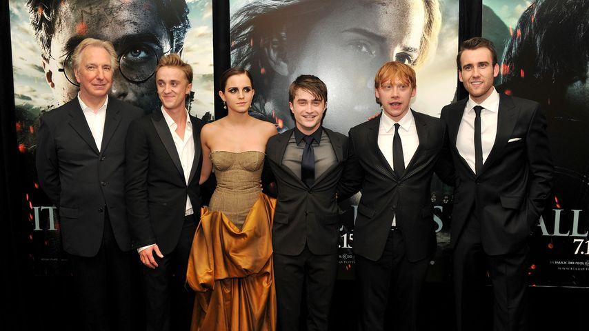 Alan Rickman, Tom Felton, Emma Watson, Daniel Radcliffe, Rupert Grint und Matthew Lewis
