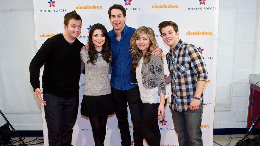 "Noah Munck, Miranda Cosgrove, Jerry Trainor, Jeanette McCurdy und Nathan Kress, Cast von ""iCarly"""