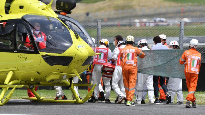 Der Helikopter nach dem Crash auf der Rennstrecke