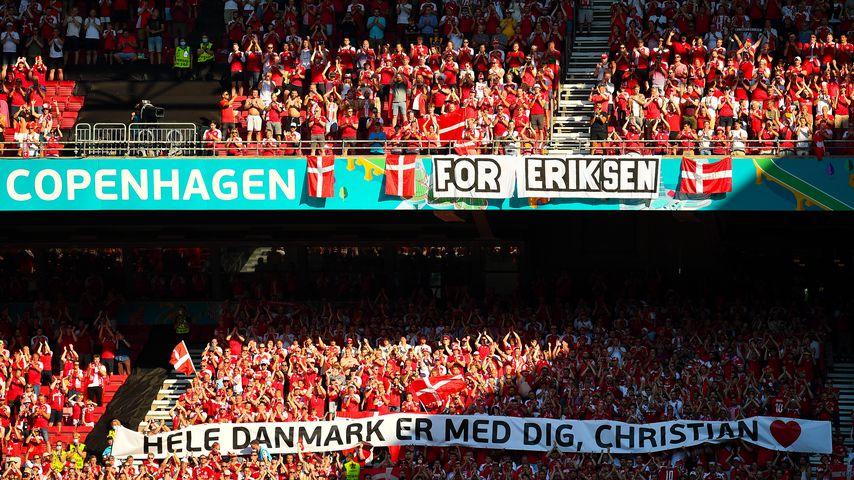 Die dänischen Fans beim EM-Spiel gegen Belgien