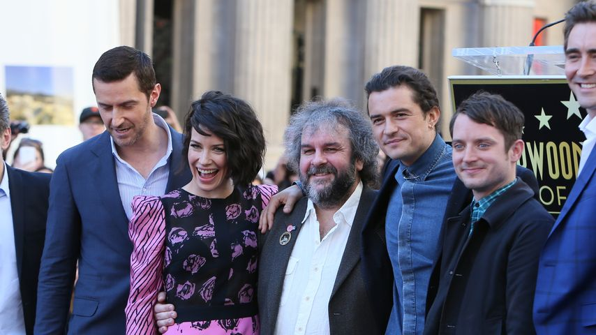 Orlando Bloom, Evangeline Lilly, Andy Serkis, Peter Jackson und Elijah Wood