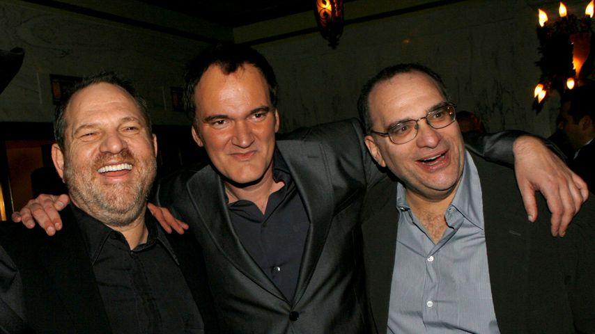 Produzent Harvey Weinstein, Regisseur Quentin Tarantino und Bob Weinstein bei einer Premiere