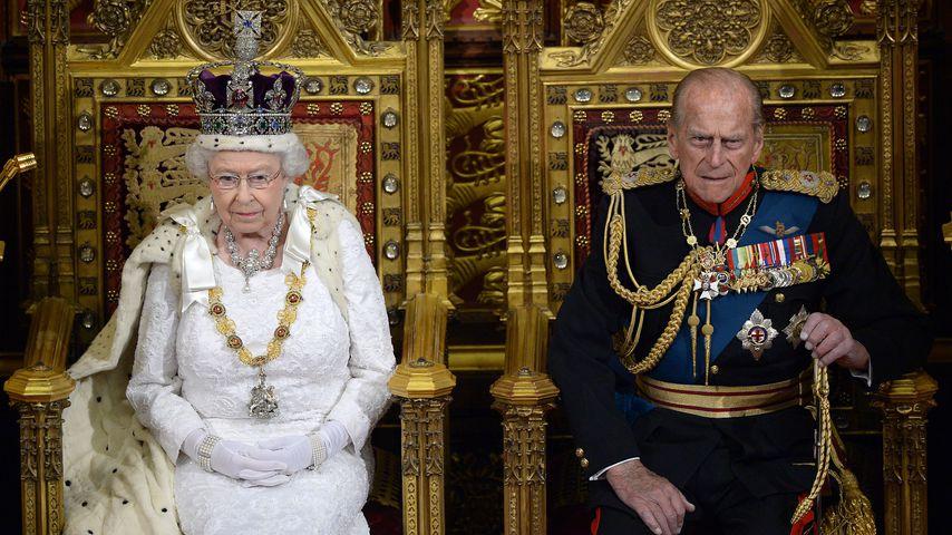 Queen Elizabeth II. und Prinz Philip bei der Parlamentseröffnung, 2014