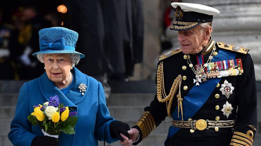 Die Queen und Prinz Philip vor der St. Paul's Cathedral in London 2015