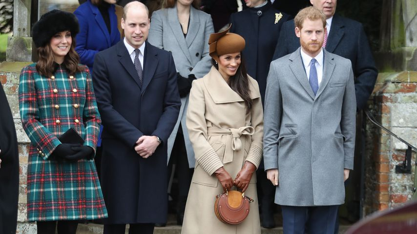 Herzogin Kate, Prinz William, Meghan Markle und Prinz Harry beim Weihnachtsgottesdienst