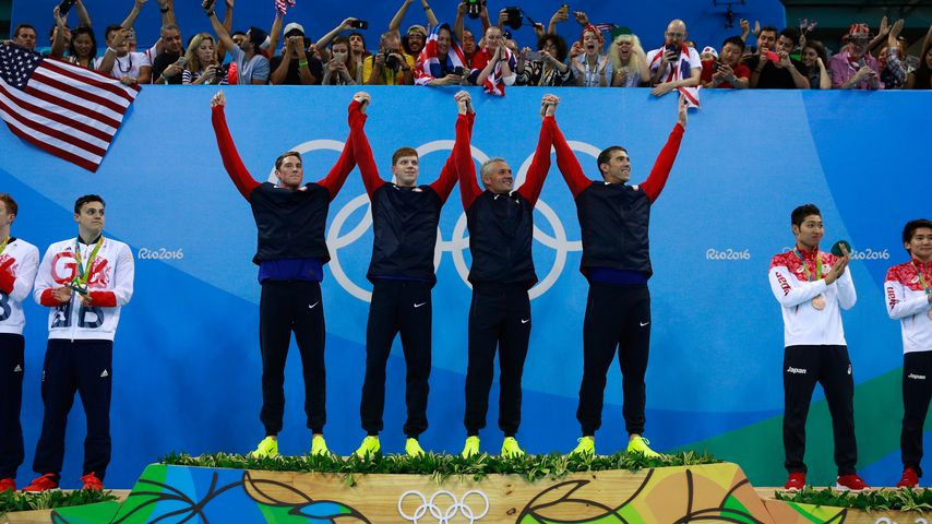 US-Goldstaffel: Townley Haas, Conor Dwyer, Ryan Lochte, Michael Phelps