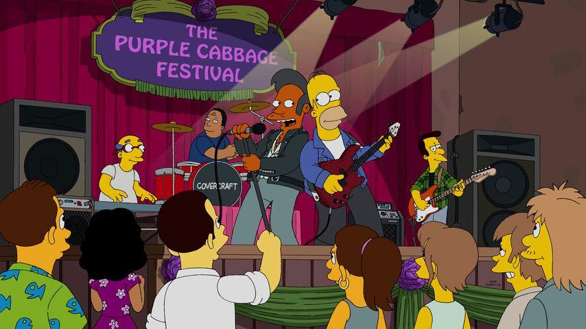 """Die """"Simpsons""""-Figuren Kirk Van Houten, Julius Hibbert, Apu Nahasapeemapetilon und Homer Simpson"""