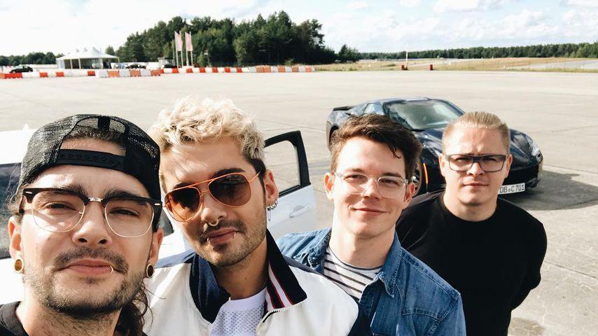 Die Tokio Hotel-Bandmitglieder Tom und Bill Kaulitz, Georg Listing und Gustav Schäfer