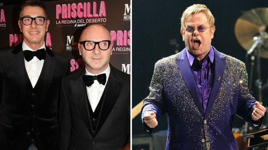 Stefano Gabbana und Domenico Dolce und Elton John