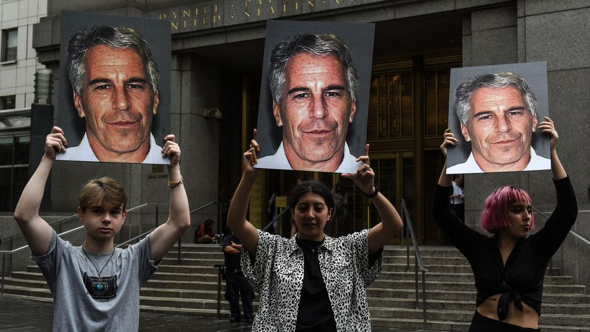 Ein Protest bei dem Prozess von Jeffrey Epstein in NYC im Juli 2019
