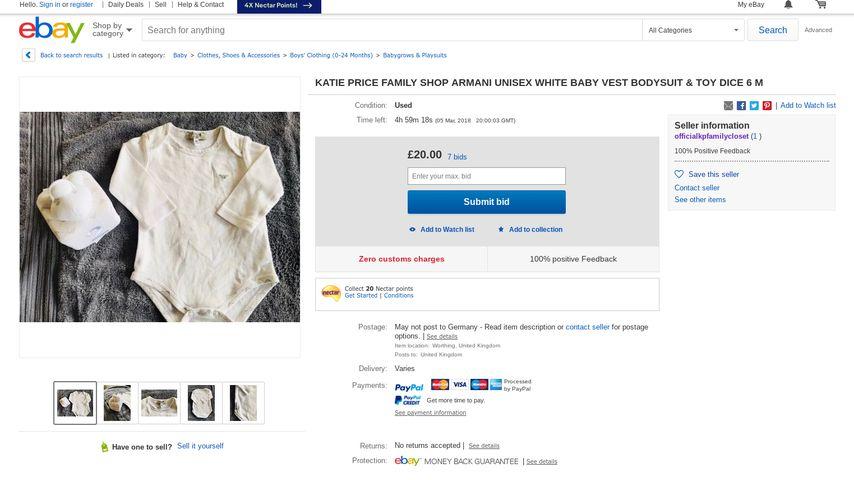 fans sauer katie price will dreckige baby sachen verkaufen. Black Bedroom Furniture Sets. Home Design Ideas