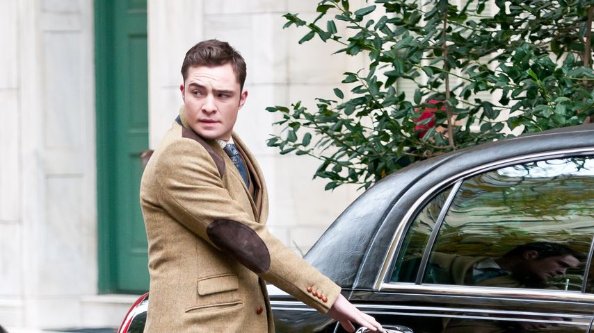 "Schauspieler Ed Westwick bei den Dreharbeiten zu ""Gossip Girl"" 2011"