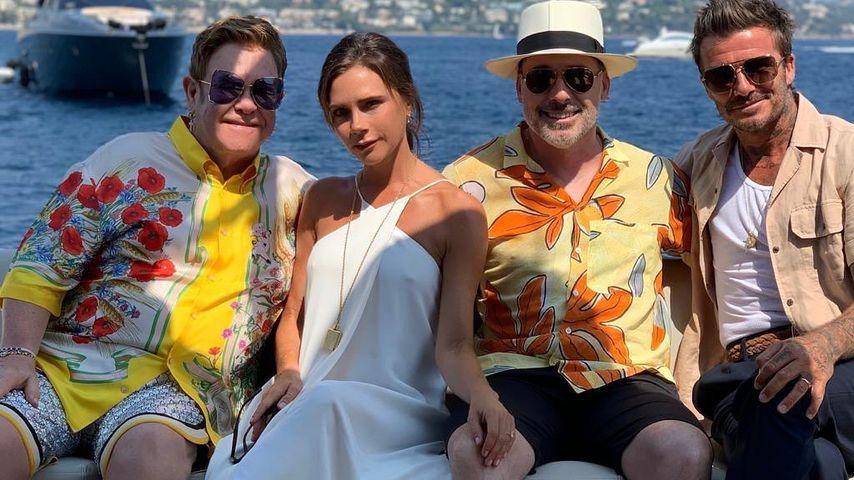 Elton John, Victoria Beckham, David Furnish und David Beckham in Frankreich