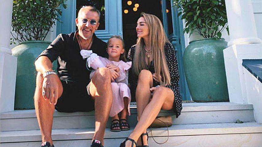 Estefania Heidemanns mit ihrem Mann Markus und ihrer Tochter Milla im Jahr 2020