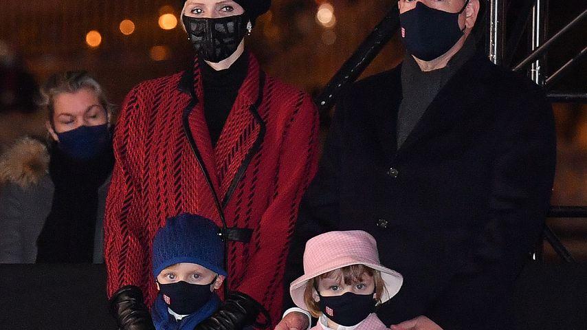 Fürstin Charlène, Fürst Albert und ihre Kinder Prinz Jacques und Prinzessin Gabriella von Monaco