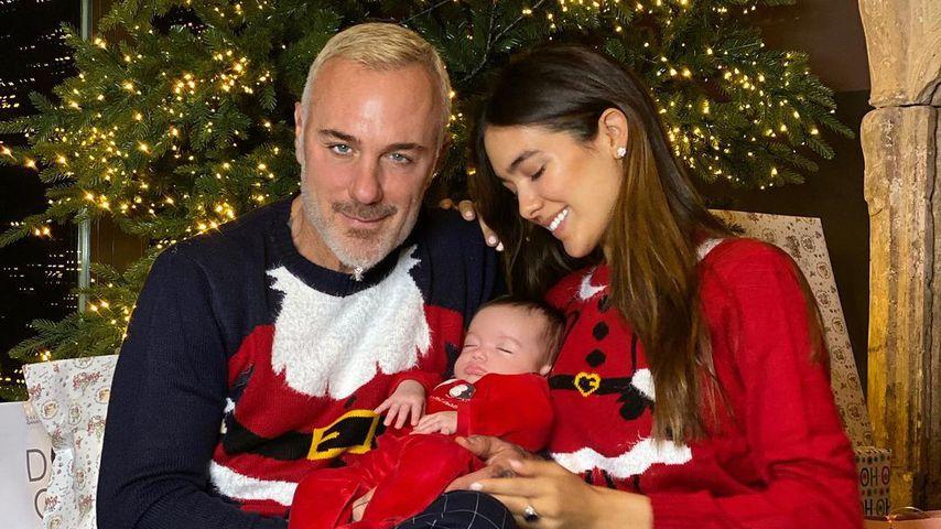 Gianluca Vacchi mit seiner Frau Sharon und seiner Tochter Blu Jerusalema im Dezember 2020