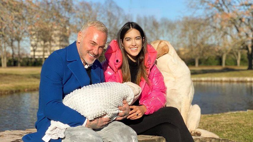 Gianluca Vacchi und Sharon Fonseca mit ihrer Tochter Blu Jerusalema im Januar 2021