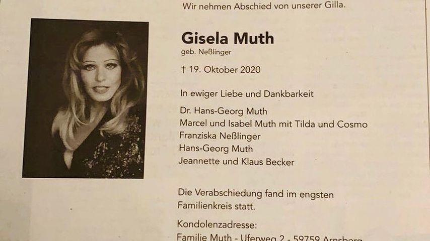 Gisela Muths Traueranzeige