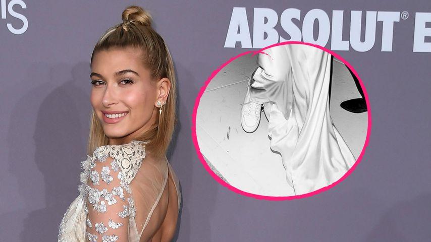 Fashion-Sünde? Hailey Bieber trug Sneaker unter Brautkleid
