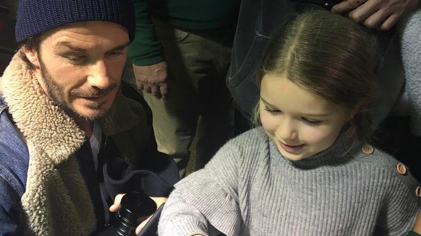 Stolzer Papa David Beckham: Harper kann jetzt Fahrradfahren!
