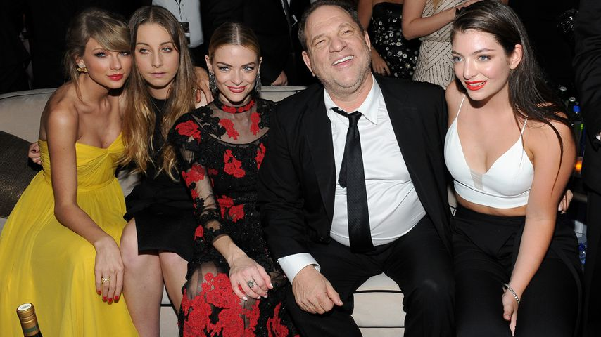 Taylor Swift, Este Haim, Jaime Kind, Harvey Weinstein und Lorde während der Golden Globe Party 2015